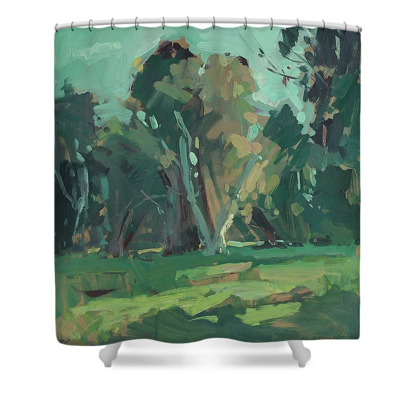 Mike Kirschel Shower Curtain featuring the painting Trees In Sunlight by Mike Kirschel