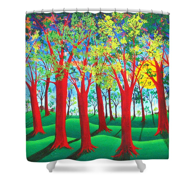 Rollin Kocsis Shower Curtain featuring the painting Trees of Red by Rollin Kocsis