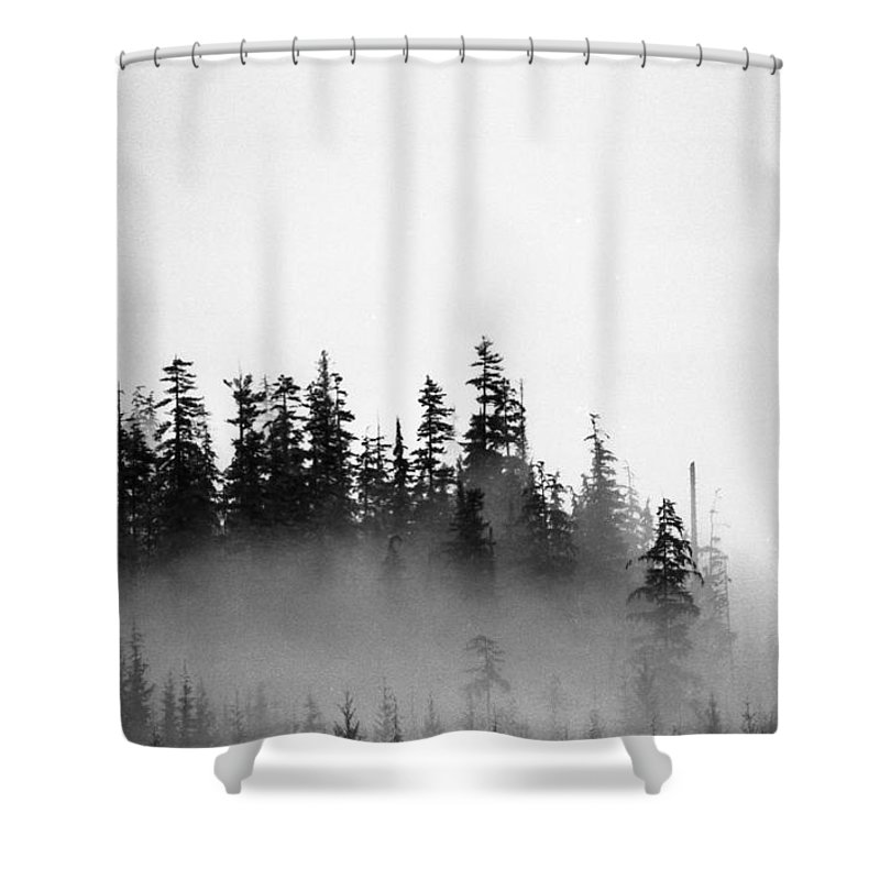 Black And White Shower Curtain featuring the photograph Trees On A Hill by Lyle Crump