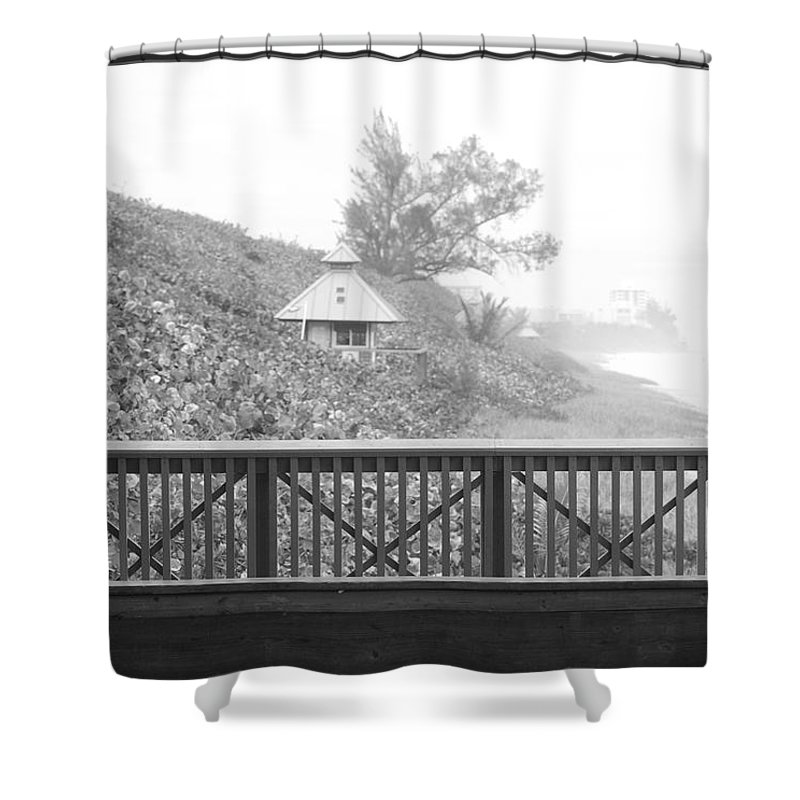 Black And White Shower Curtain featuring the photograph Trees On The Hill by Rob Hans