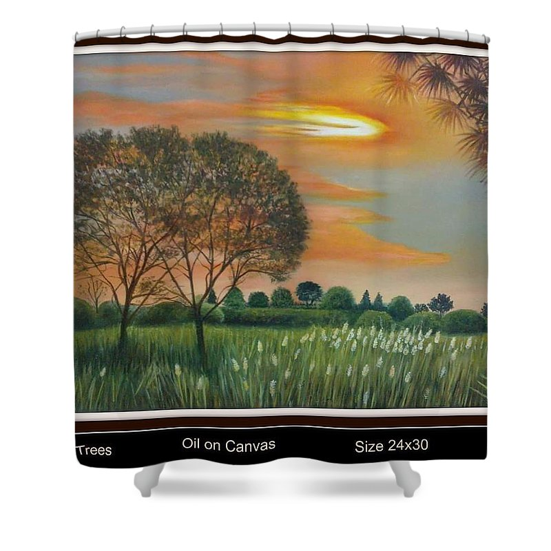 Shower Curtain featuring the painting Trees by Sumera Saleem