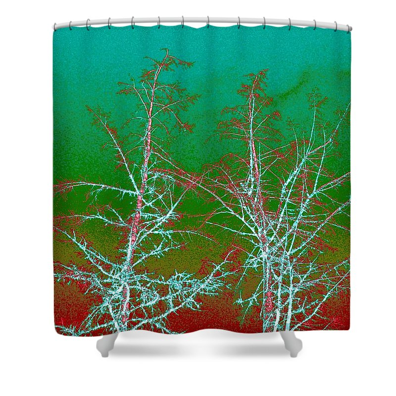 Abstract Shower Curtain featuring the digital art Treetops 2 by Will Borden