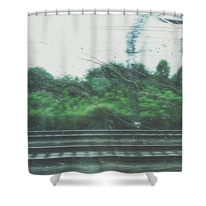 Sara Shower Curtain featuring the digital art Trein by Trein