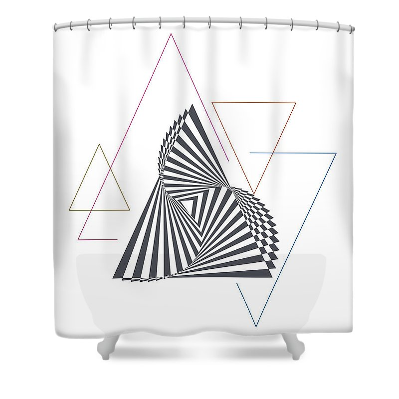 Art & Collectibles Shower Curtain featuring the digital art Triangle Op Art by BONB Creative