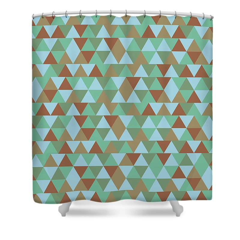 Pattern Shower Curtain Featuring The Mixed Media Triangular Geometric