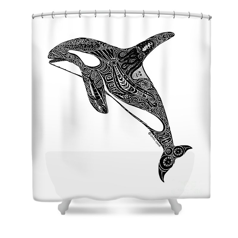 Orca Shower Curtain featuring the drawing Tribal Orca by Carol Lynne