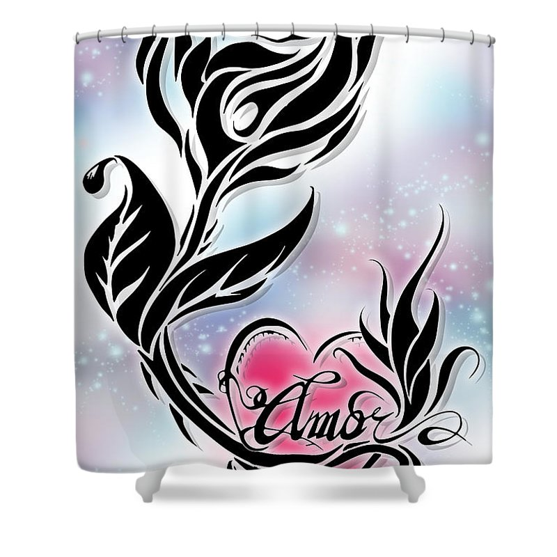 Tribal Shower Curtain Featuring The Digital Art Rose Of Love By Jeremiah Thompson