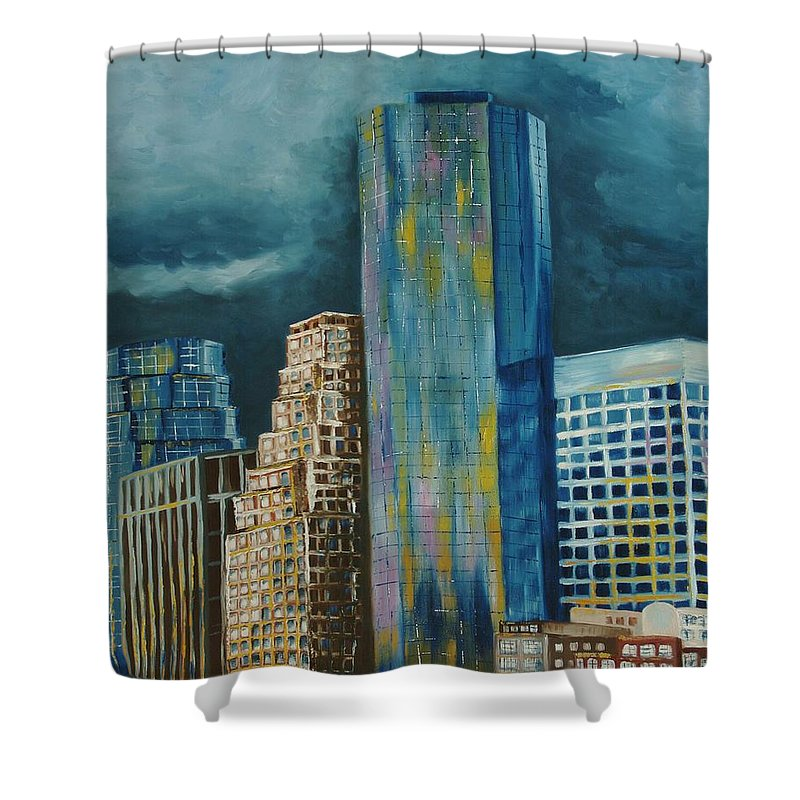 City Scapes Shower Curtain featuring the painting Tribeka by Milagros Palmieri