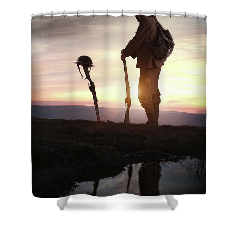 World War One Shower Curtain featuring the photograph Tribute To A Fallen Comrade World War One by Lee Avison