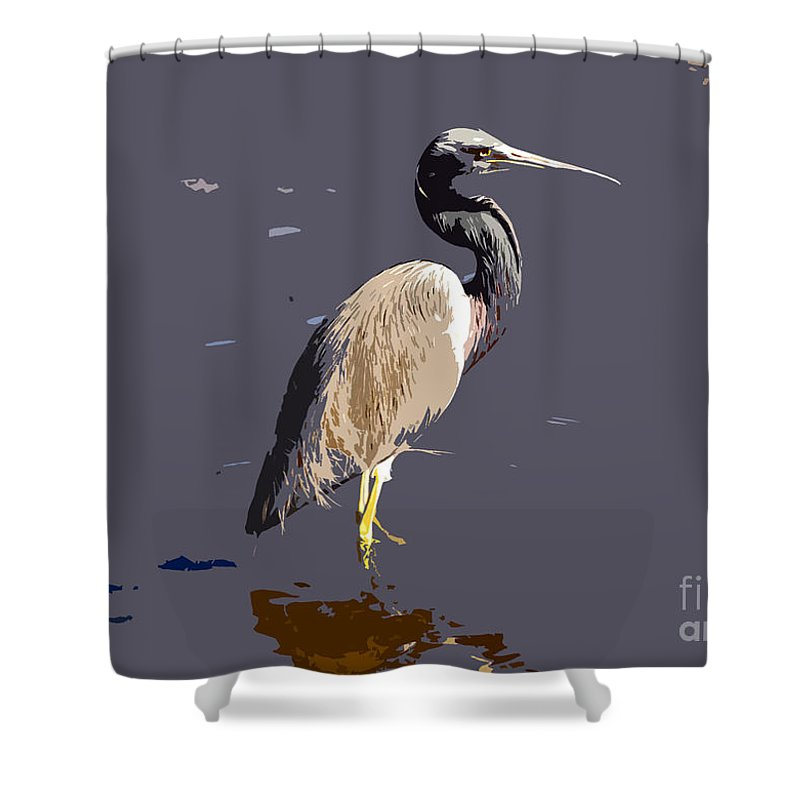 Tricolor Ed Heron Shower Curtain featuring the photograph Tricolored Heron by David Lee Thompson