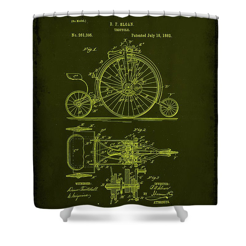 Tricycle Shower Curtain featuring the mixed media Tricycle Patent Drawing 1l by Brian Reaves