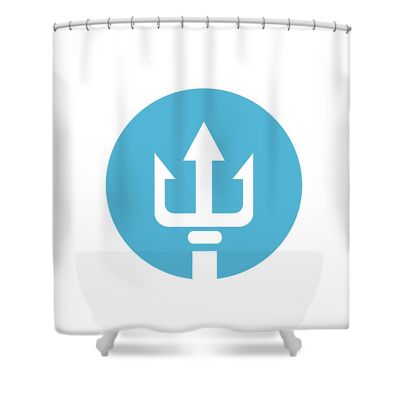 Icon Shower Curtain featuring the digital art Trident Circle Icon by Aloysius Patrimonio