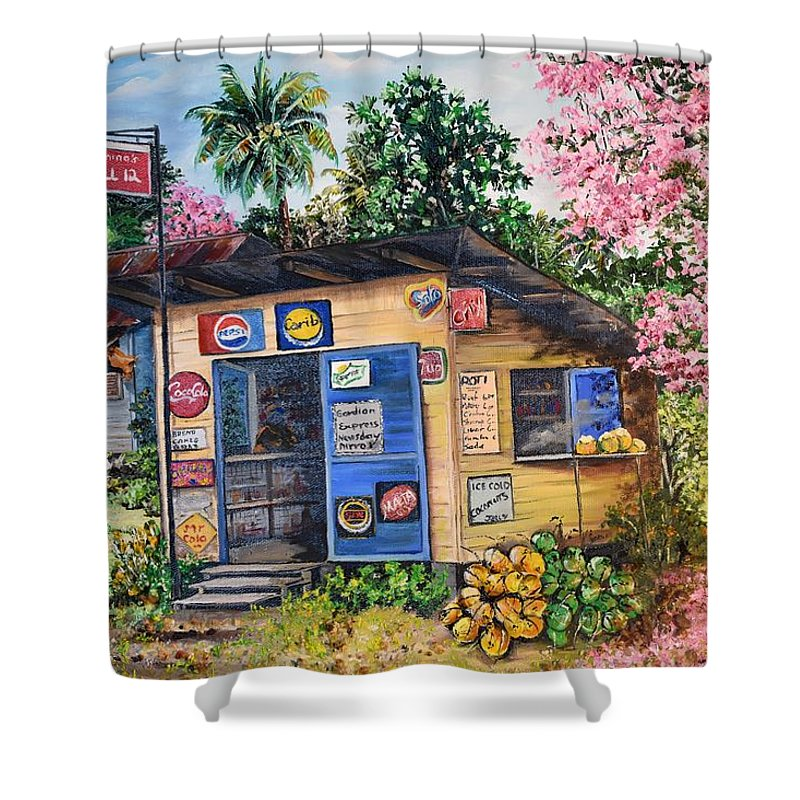 Trinidad And Tobago Shop Shower Curtain featuring the painting Trinidad Country Parlour by Karin Dawn Kelshall- Best