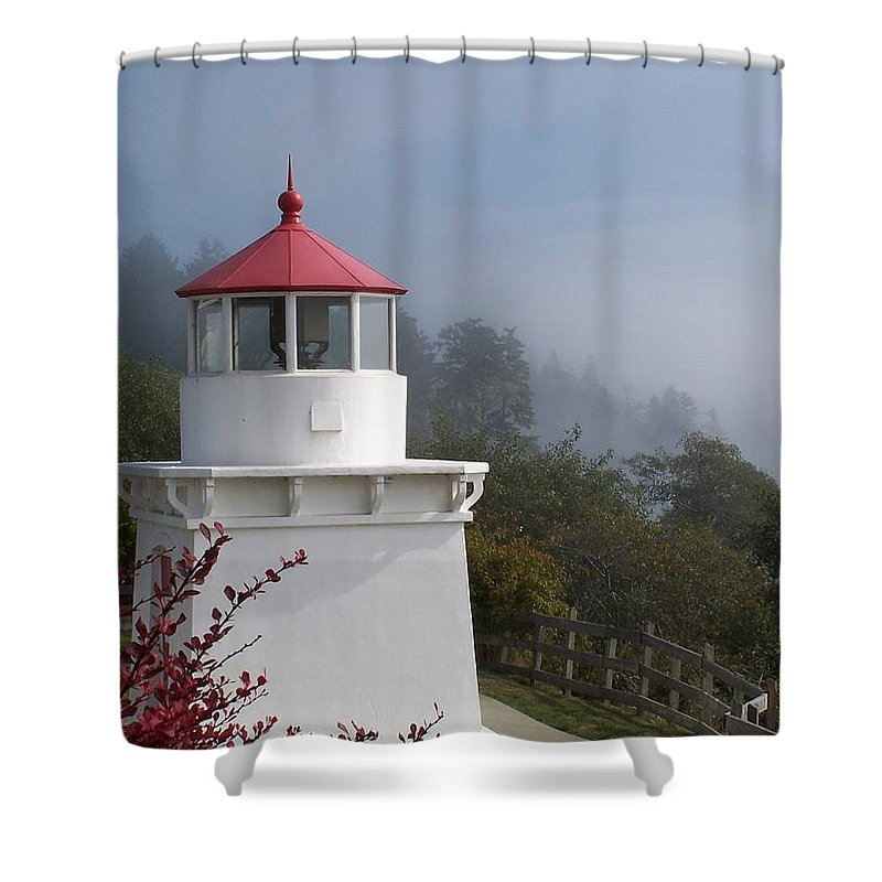 Lighthouse Shower Curtain featuring the photograph Trinidad Head Lighthouse by Gale Cochran-Smith