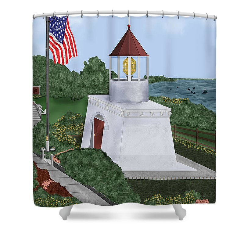 Trinidad Memorial Shower Curtain featuring the painting Trinidad Memorial Lighthouse by Anne Norskog