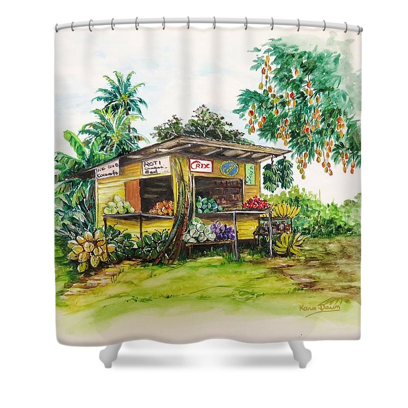 Caribbean Parlor Shower Curtain featuring the painting Trinidad Roadside Vendor by Karin Dawn Kelshall- Best