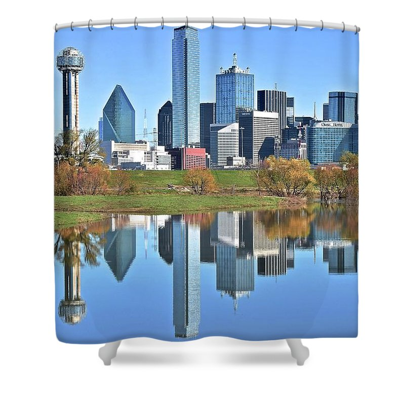 Dallas Shower Curtain featuring the photograph Trinity Park Water Reflects The Big D by Frozen in Time Fine Art Photography
