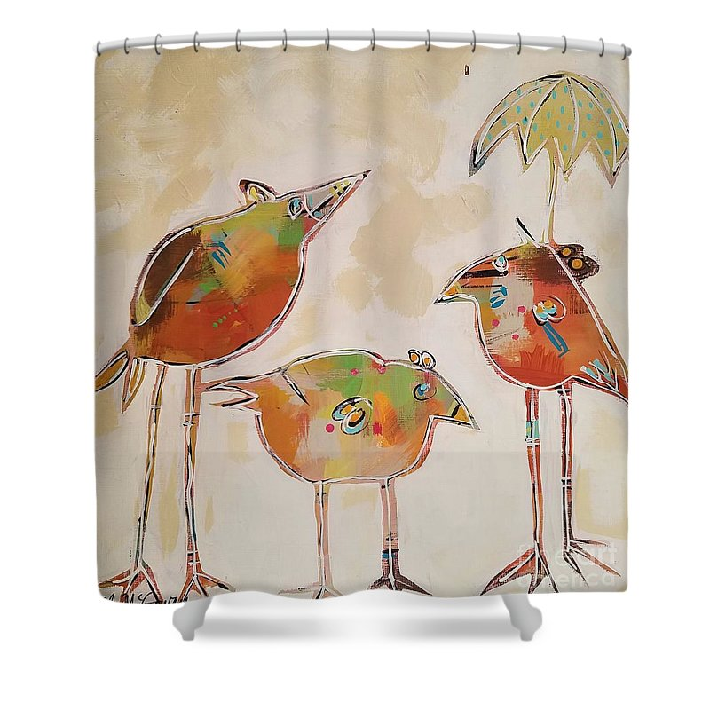 Birds Shower Curtain featuring the painting Trio Birds by Lora McGowan