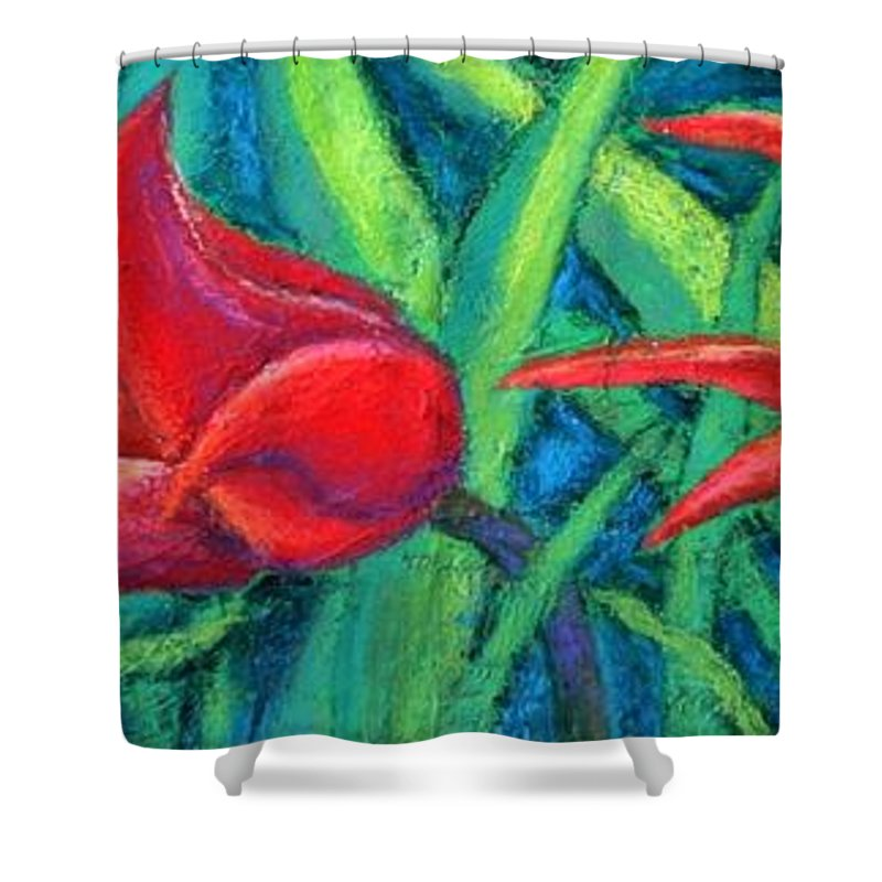 Tulips Shower Curtain featuring the painting Triple Tease Tulips by Minaz Jantz