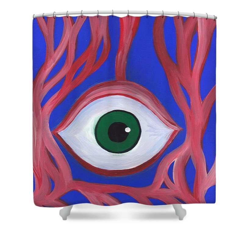Trippy Eyeball Acrylic Horror Painting On Canvas Shower Curtain for ...