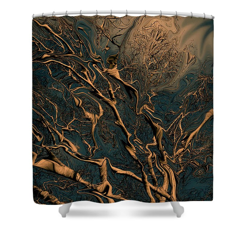Trees Nature Abstract Digital Painting Shower Curtain featuring the photograph Trippy Tree by Linda Sannuti