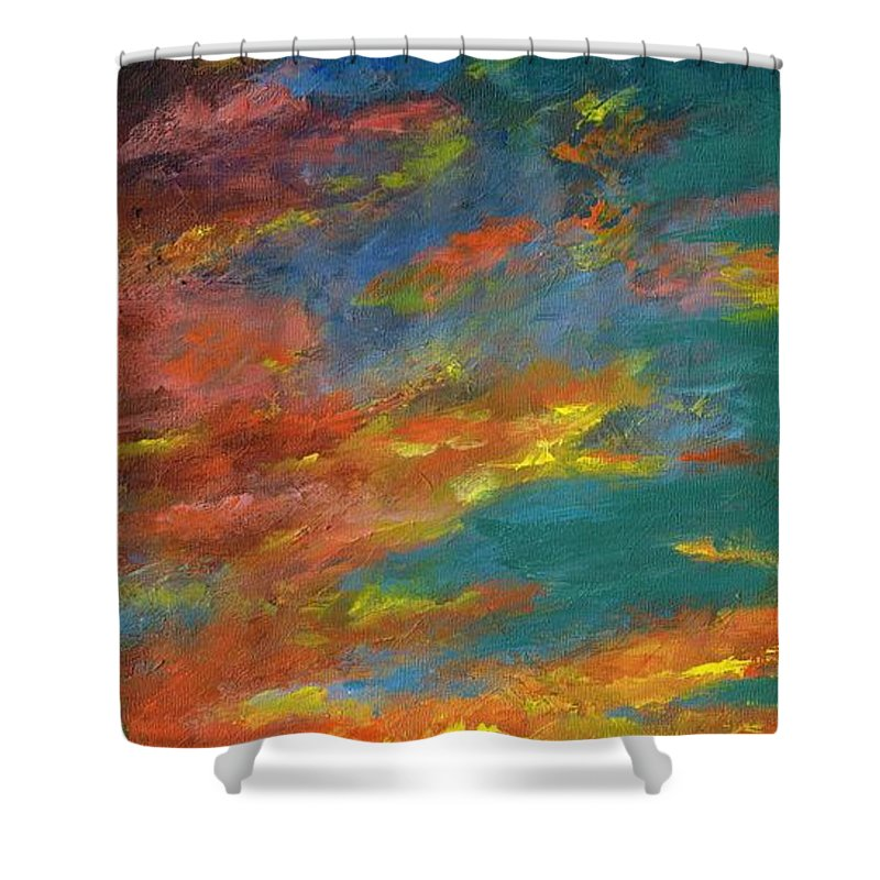 Desert Shower Curtain featuring the painting Triptych 1 Desert Sunset by Frances Marino