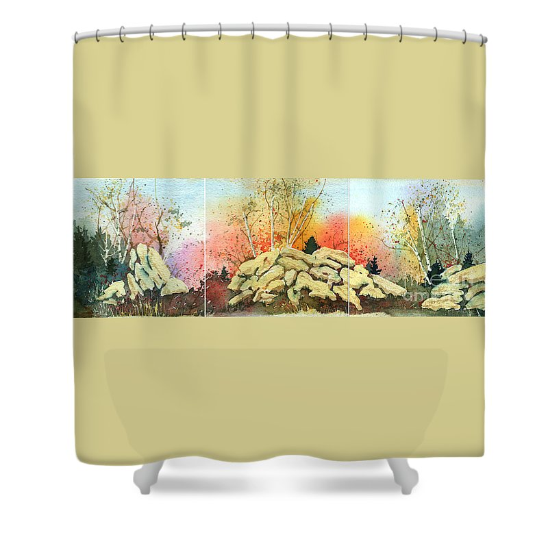 Landscape Shower Curtain featuring the painting Triptych by Lynn Quinn
