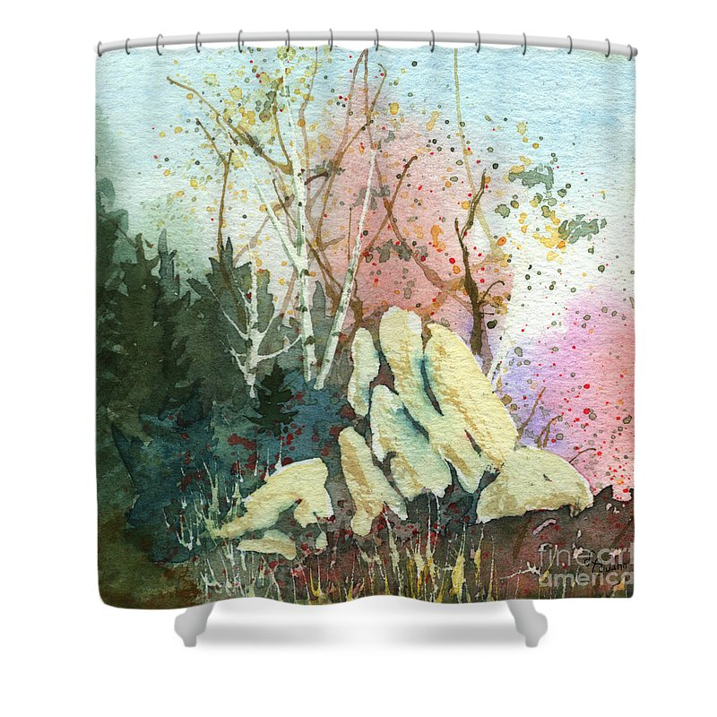 Landscape Shower Curtain featuring the painting Triptych Panel 1 by Lynn Quinn