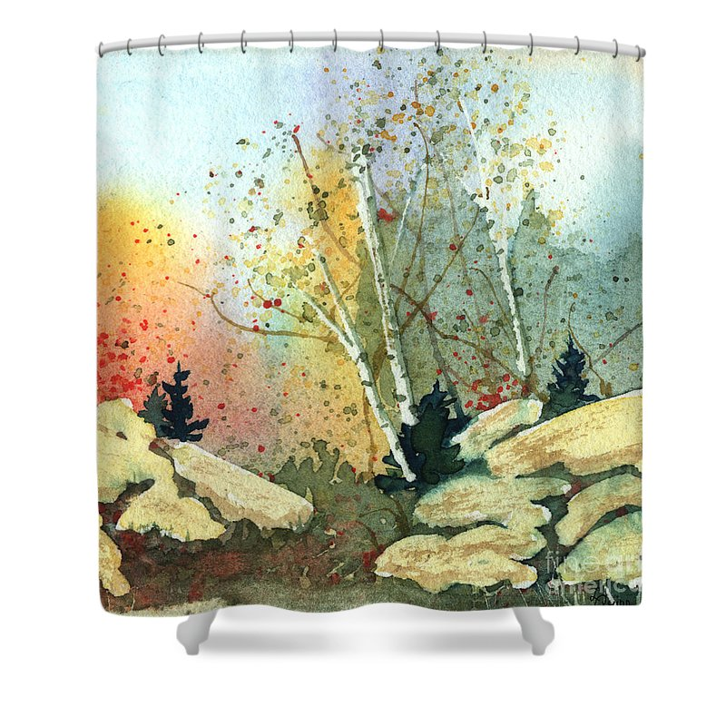 Landscape Shower Curtain featuring the painting Triptych Panel 3 by Lynn Quinn