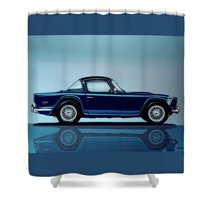 Triumph Tr5 Shower Curtain featuring the painting Triumph Tr5 1968 Painting by Paul Meijering