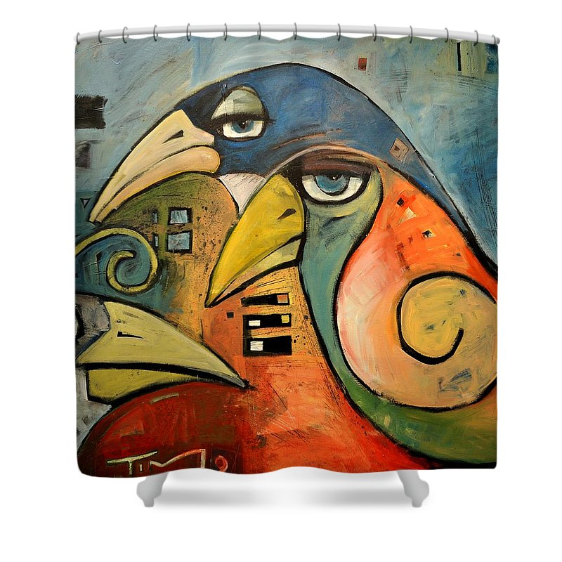 Birds Shower Curtain featuring the painting Trois Oiseaux by Tim Nyberg