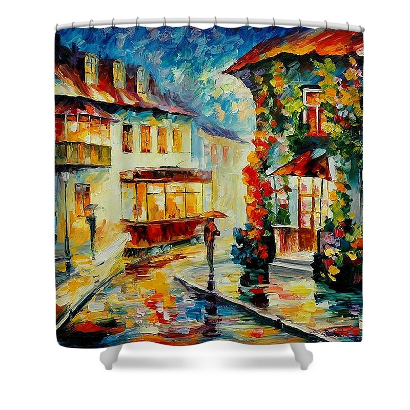 Afremov Shower Curtain featuring the painting Trolley by Leonid Afremov