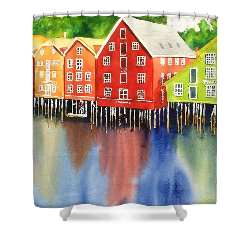 Norway Shower Curtain featuring the painting Trondheim by Karen Stark