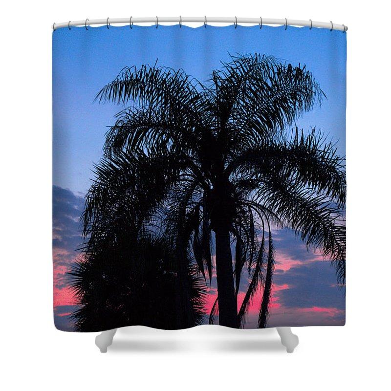 Florida; Sunset; Sun; Sunrise; Set; Setting; Rise; Rising; Summer; Melbourne; Beach; Atlantic; Coast Shower Curtain featuring the photograph Tropic Sunset In Floirida by Allan Hughes