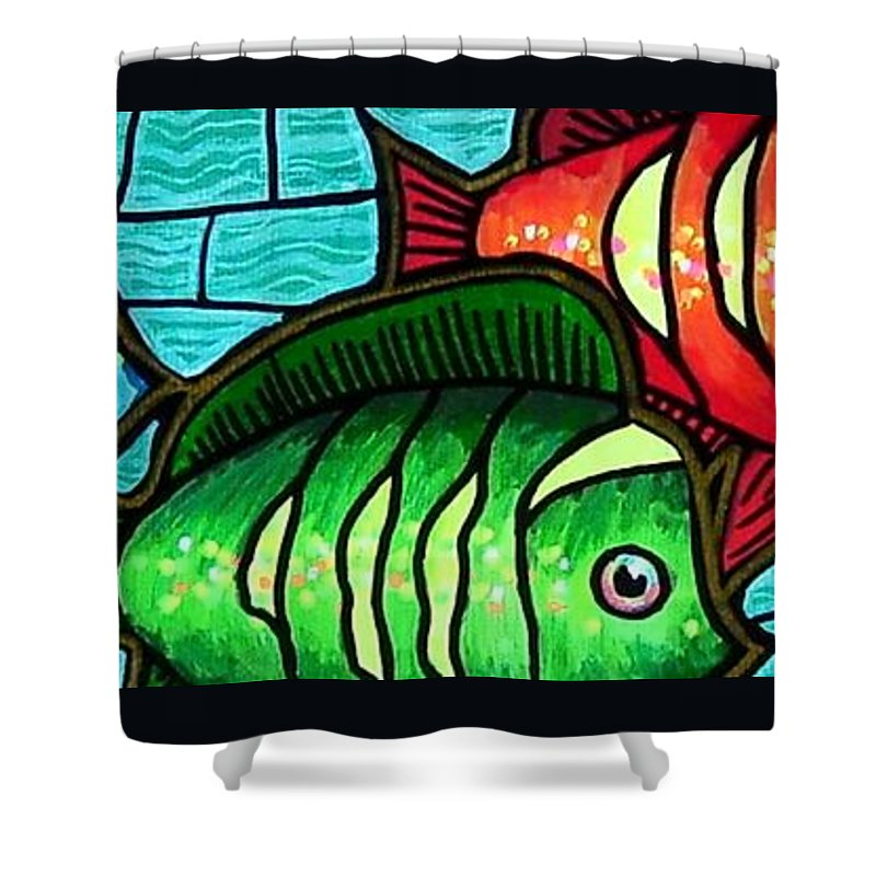 Tropics Shower Curtain featuring the painting Tropic Swim by Jim Harris