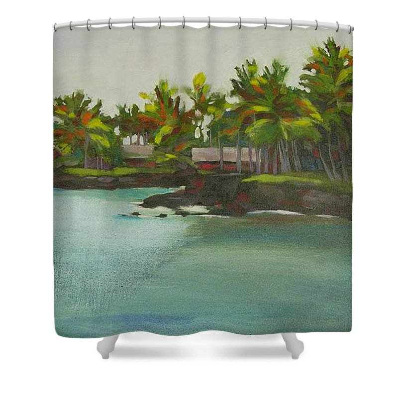 Oil Shower Curtain featuring the painting Tropical Bay by Mary McInnis