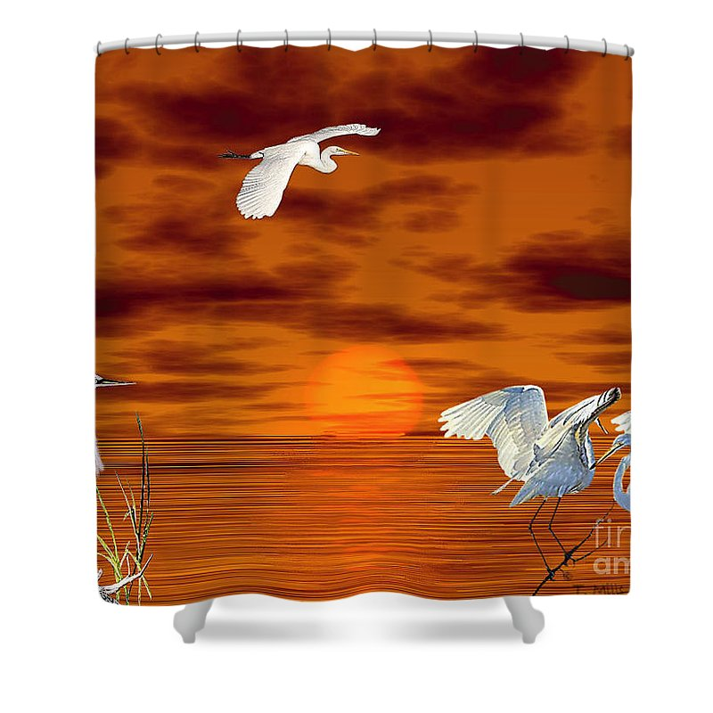 Egret Shower Curtain featuring the digital art Tropical Birds And Sunset by Terri Mills
