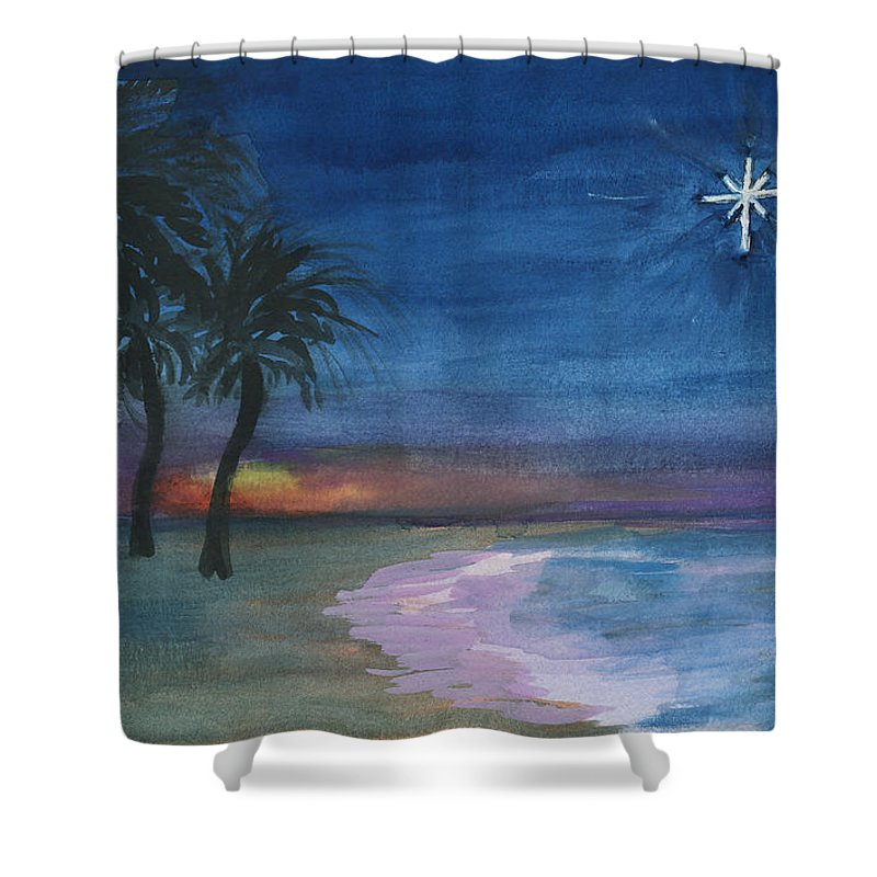 Palm Trees Shower Curtain featuring the painting Tropical Christmas by Donna Walsh