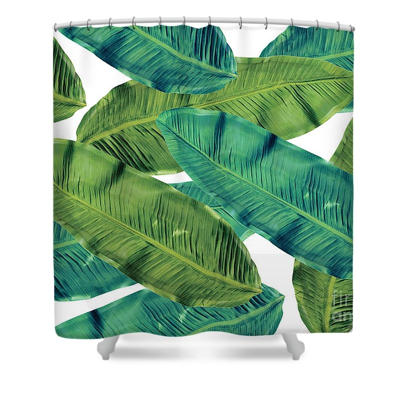 Summer Shower Curtain featuring the digital art Tropical Colors 2 by Mark Ashkenazi
