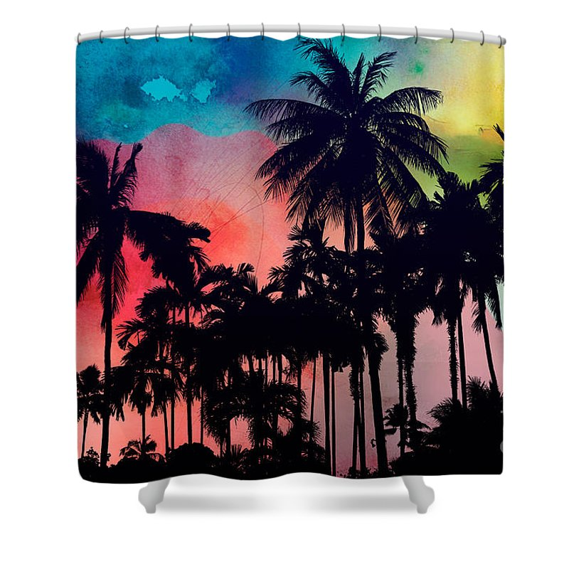 Shower Curtain featuring the painting Tropical Colors by Mark Ashkenazi