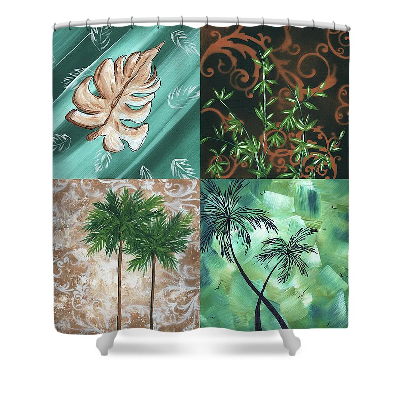 Wall Shower Curtain featuring the painting Tropical Dance Square By Madart by Megan Duncanson