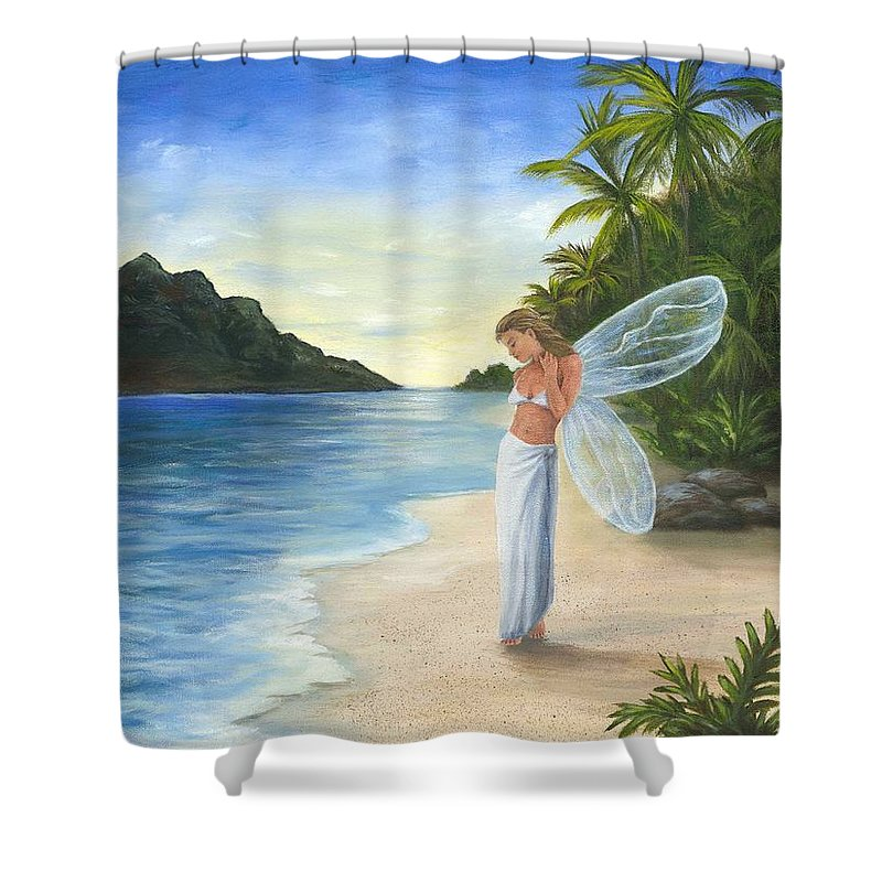 Fairy Shower Curtain featuring the painting Tropical Fairy by Anne Kushnick