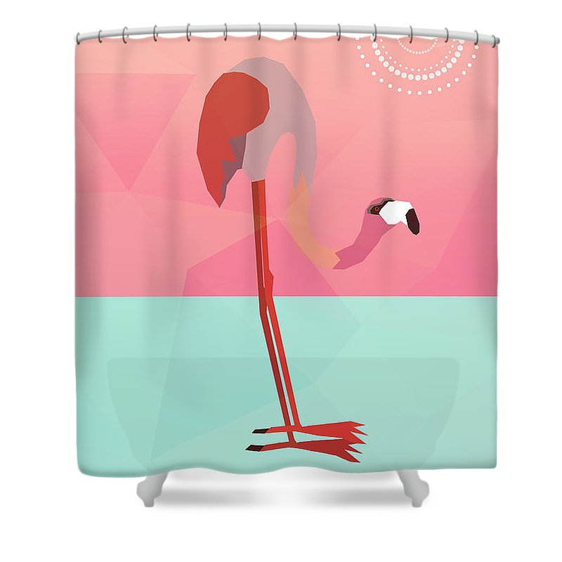 Flamingo Shower Curtain featuring the digital art Tropical Flamingo by Mark Ashkenazi