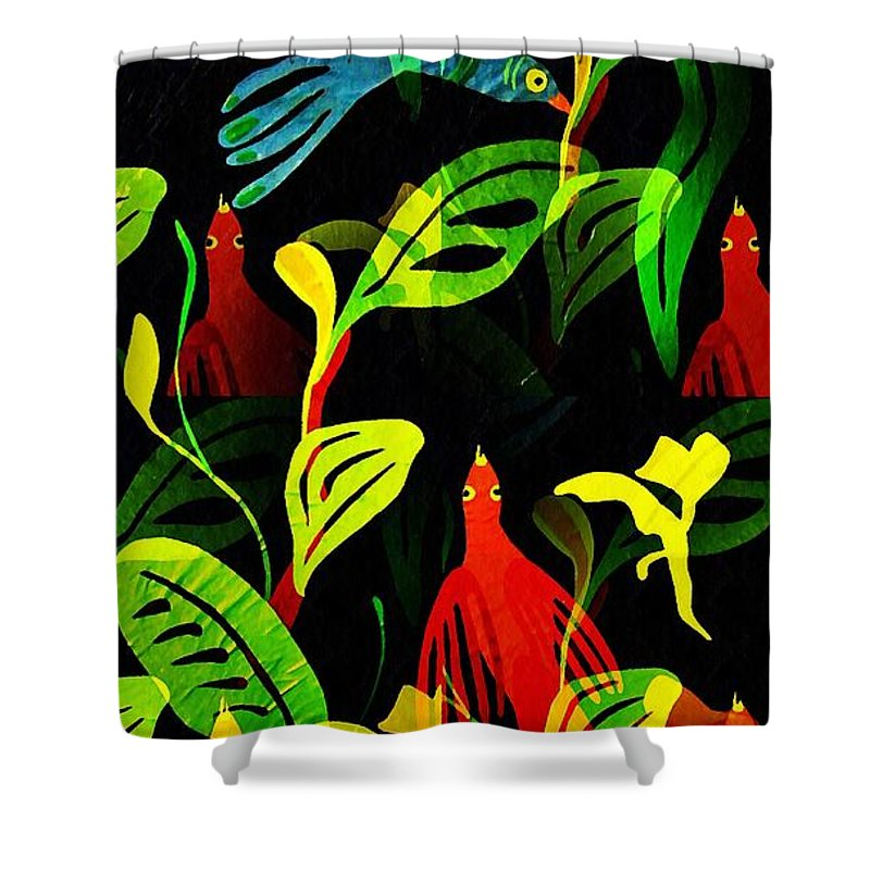Tropical Shower Curtain featuring the mixed media Tropical Flock by Sarah Loft