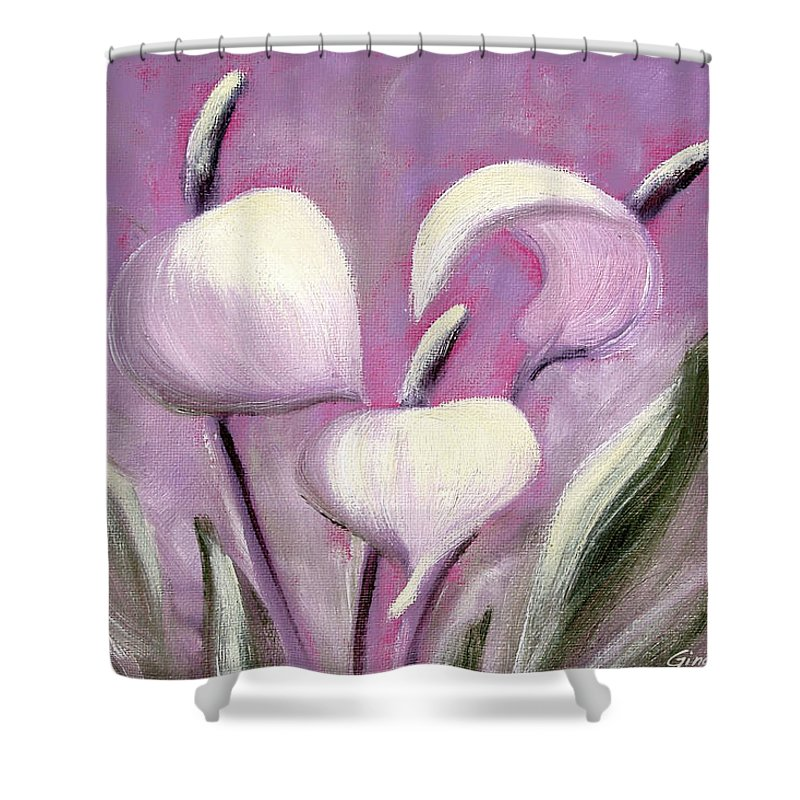Tropical Shower Curtain featuring the painting Tropical Flowers In Pink Color by Gina De Gorna