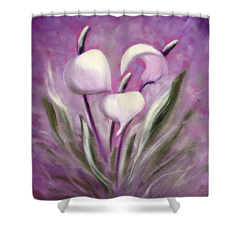 Tropical Shower Curtain featuring the painting Tropical Flowers in Purple by Gina De Gorna