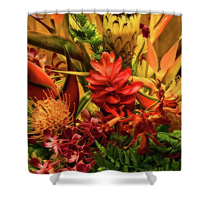 Orange Shower Curtain featuring the photograph Tropical Flowers by Peggy Starks