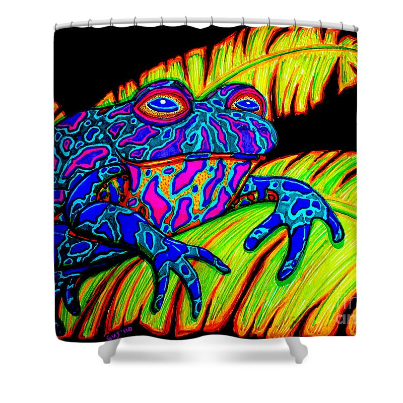 Frog Shower Curtain featuring the drawing Tropical Frog by Nick Gustafson
