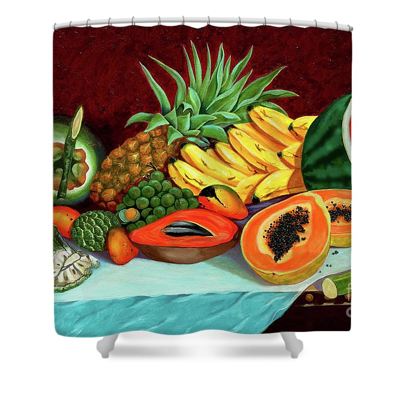 Coconut Shower Curtain featuring the painting Tropical Fruits by Jose Manuel Abraham