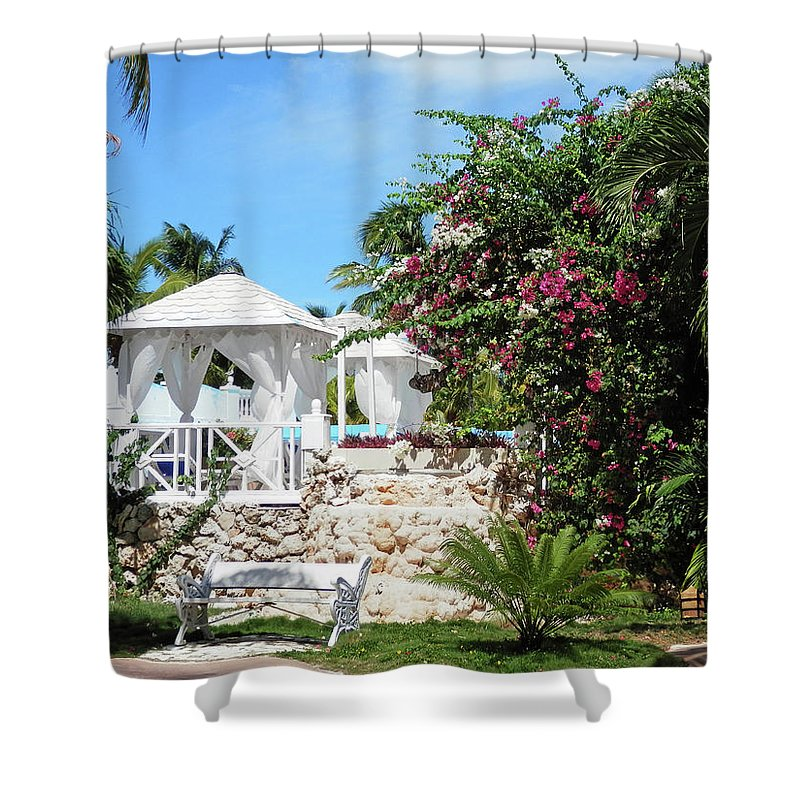 Garden Shower Curtain featuring the photograph Tropical Garden by Pema Hou
